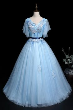 Blue Tulle V Neck Cap Sleeve Long Quinceanera Prom Dress, Ball Gown With Applique Banquet Dresses, Prom Dresses Blue, Cute Dresses, Dresses With Sleeves, Marvel Dress, Kids Gown, Blue Gown, 1940s Dresses, Disney Dresses