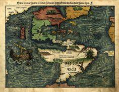"1550 Map, MEXICO, FLORIDA, North South AMERICA, antique, 24""x20"" Print"
