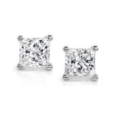 Add some sparkle to your look with these diamond solitaire stud earrings. Featuring round-cut and princess-cut diamond options set in a prong, these earrings will flatter any woman. A high-polish, 14-karat white-gold construction completes the look.