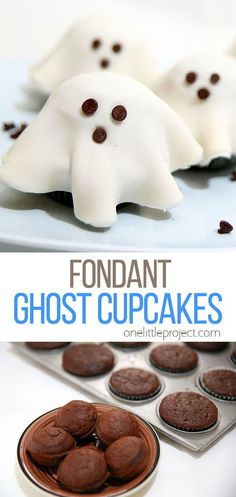 These fondant ghost cupcakes are so easy! You can make everything from scratch if you want, or you can use prepackaged mixes and fondant like we did so you can put them together in a snap! They make an adorable and creative Halloween treat that everyone will love! Easy Halloween, Halloween Treats, Halloween Party, Fun Desserts, Dessert Recipes, Halloween Activities For Toddlers, Ghost Cupcakes, Tasty, Yummy Food