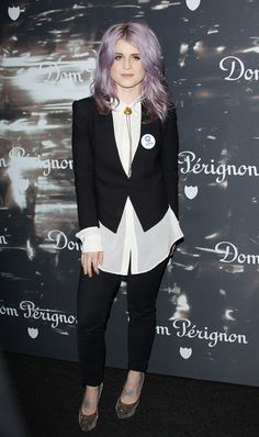 gotta love the candy colored hair and sassy outfit - Kelly Osbourne