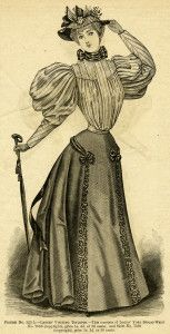 Victorian lady, vintage dress clipart, Edwardian fashion image, black and white graphics, antique womens clothes, Victorian gown illustratio...