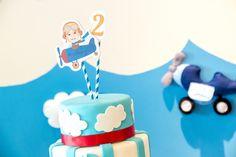 Topo do Bolo Aviador - Festa de Aniversário Infantil Avião