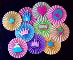 """Set of 10 """"Princess"""" themed paper rosettes. Each rosette has die cut princess themed picture. Perfect for backdrop decorations, photo booths. Paper Fan Decorations, Paper Wreaths, Backdrop Decorations, Backdrops, Disney Princess Birthday, Paper Rosettes, Paper Fans, Diy Flowers, Holidays And Events"""