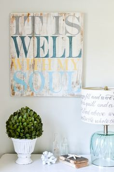 """It is well with my soul"" Wood Sign {customizable} - Aimee Weaver Designs. I like the colors together. Painted Signs, Wooden Signs, Hand Painted, Wood Crafts, Diy Crafts, Wood Artwork, Pallet Art, Pallet Frames, Pallet Signs"