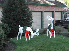 Holiday Lawn Decorations White Reindeer Christmas Crafts