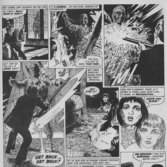 Art for the comic strip adaptation of 'The Mummy' 1959.  Script by Steve Moore.  Artwork by David Jackson .  Published in 'Hammer's Halls of Horror issue 22'.  Edited by Dez  Skinn.  Published by Top Sellers Ltd, Warner House, London, July 1978.