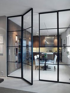 Interior french doors add a beautiful style and elegance to any room in your home. Interior Architecture, Interior Design, Steel Doors, Interior Barn Doors, Scandinavian Interior, Glass Panels, Glass Panel Wall, Innovation Design, Windows And Doors