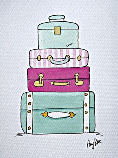 11x14 Watercolor Painting Print - Vintage Suitcases and ...