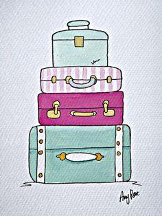 Stack of Suitcases Original illustration by Velvetcoco on Etsy, £20.00