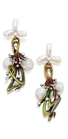 Art Nouveau Pearl & Enamel Earrings