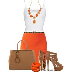 A fashion look from August 2014 featuring white tops, jersey skirt and strappy sandals. Browse and shop related looks.
