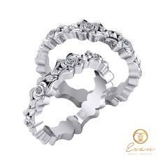 Verighete din aur alb cu diamante cu design floral ESV18 Rings For Men, Floral, Jewelry, Design, Diamond, Men Rings, Jewlery, Jewerly, Flowers