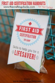 First Aid Certification Handouts {free printable for YW Camp} also more generic for other groups getting certified. Activity Day Girls, Activity Days, Church Activities, Camping Activities, Girls Camp Certification, Girls Camp Gifts, Lds, Yw Handouts, Girls Camp Handouts