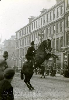 Mounted Police in Edinburgh Old Town Edinburgh, Edinburgh Scotland, Exposure Time, Great British, British History, Police Officer, Vintage Photos, The Past, Police Vehicles