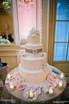 Blush French Vintage Wedding Cake. #frenchvintage by Flour Power Cakery in San Diego. #weddingcake   Wedding Planner: Monarch Weddings (www.monarchweddings.com)