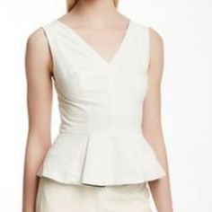 HP Robert Rodriguez Leather Peplum Top☑️OFFERS Super Gorgeous,uber chic leather top from designer Robert Rodriguez.Perforated leather in ivory with mesh back that is super sexy.Peplum design,V-neck,hidden side zipper for easy slip on.Fully lined.100% leather.The cut on this beauty is simply perfect.The back and shoulders have slight marks as pictured but very insignificant as they are tiny & hardly noticeable.May even come off when professionally cleaned.Purchased at Neiman's this winter but…