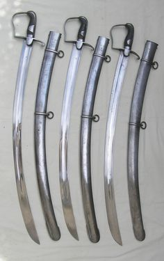 These are 1796 light cavalry sabers. In addition to being totally awesome pieces of 216 year old history, they are also totally awesome weapons which are still in good working order, 200 plus years later.