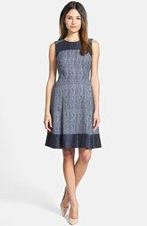 Classiques Entier® Tweed Fit & Flare Dress with Solid Trim