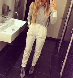 Image discovered by NewYorkBabe. Find images and videos about fashion and chic on We Heart It - the app to get lost in what you love. We Heart It, Style Me, Classy, Chic, Womens Fashion, Pants, Stuff To Buy, Outfits, Shopping