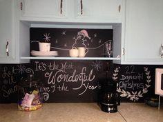 #chalkboard backsplash .. Kids love it!!!