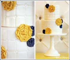 Love the white cake with yellow and navy flowers.