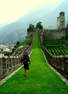"""Bellinzona, Switzerland.  Exploring one of the three castles in the Italian-speaking Swiss mountain town."""