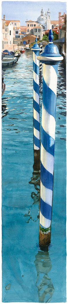 '3 Bricole' = riginal watercolour of striped Venetian mooring poles coming out of the water, with a view of Venice in the background. Artist:  Annelies Clarke  www.anneliesclarke.com