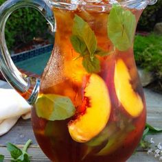 Healthy Skin Iced Saffron Tea Recipe with Peach and Basil