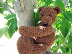 Hand Crocheted Milk Chocoloate Teddy Bear by Connie Lee