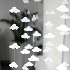 CLOUD / Star / Heart PAPER GARLAND - Stitched Paper Nursery ...