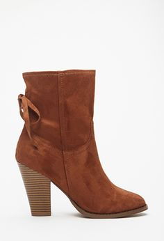 Faux Suede Bow Booties   FOREVER21 - 2000100918