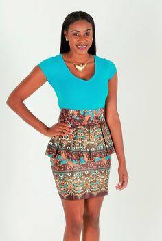 African Print Midi Peplum Skirt ~ The GUIA