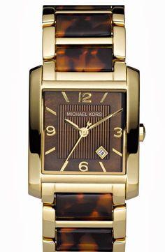 AUTH MICHAEL KORS Women's Brown Tortoise Shell and Gold Tone Watch MK4242 #MichaelKors