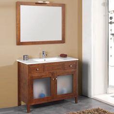 Mueble de baño rústico ESTEPONA VT con patas 100 cm nogal con LAVABO 9540 Vanity, Bathroom Vanity, Bathroom