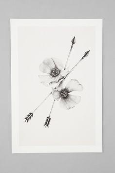 Wild Rose and Arrows Giclee Fine Art Print por BurrowingHome Wild Rose Tattoo, Lotus Tattoo, Beautiful Traps, Trap Art, Cherokee Rose, Black And White Artwork, Graphite Drawings, Symbolic Tattoos, Shopping