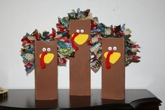 The feathers are torn scraps of fabric, and the beak is cut from particle board (or fun foam would work well too.) Fun and easy enough for kids to make. Woodworking Projects For Seniors Thanksgiving Wood Crafts, Christmas Wood Crafts, Thanksgiving Decorations, Fall Crafts, Halloween Crafts, Holiday Crafts, Thanksgiving Favors, Holiday Decorations, Kids Crafts