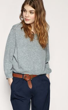 The perfect relaxed look. grey sweater, navy chinos, and the best way to tie your belt