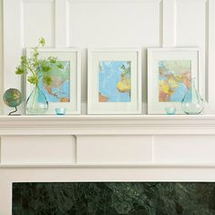 Find an old map and cut it up for a fun way to refresh your mantel: http://www.bhg.com/decorating/budget-decorating/cheap/cheap-savvy-decor-design-ideas/?socsrc=bhgpin010814uniformstyle&page=36