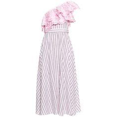 Gül Hürgel One shoulder ruffle-trimmed striped dress (5.165 HRK) ❤ liked on Polyvore featuring dresses, pink multi, stripe dress, scalloped stripes dress, flounce dress, floral embroidered dress and pink dress