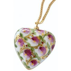 "Hand-Painted Porcelain Pompadour Heart Pendant Necklace. ""#jewelry #limoges #porcelain #pendant #necklace #handmade #giftforher"