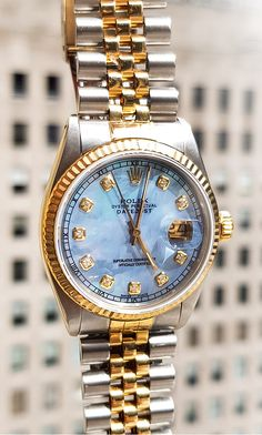 ecb4f1efa04 Rolex Datejust Mens Custom Diamond Watch 18K Gold and Stainless Steel 0.1ct
