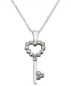 Victoria Townsend Sterling Silver Necklace, Diamond Accent Heart Key Pendant
