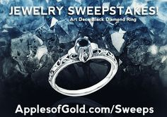 JEWELRY SWEEPSTAKES from ApplesofGold.com - win a Black Diamond Art Deco Ring in 14K White Gold with a Retail value of $725. On sale for $475 on ApplesofGold.com. Giveaway ends July 4th!