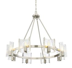 In the Savoy House Handel chandelier, an airy hoop style is enhanced by curving, intriguing clear water piastra glass shades that provide a backdrop for the light to shine. Finished in satin nickel. Chandelier Lighting, House Lighting, Glass Shades, Backdrops, Ceiling Lights, Satin, Home Decor, Hoop, Search