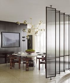 To ease you finding types of modern dining room design you want. This awesome modern dining room design contain 17 fantastic design.To aid you with ideas in mak… Dining Room Wall Decor, Dining Room Lighting, Dining Room Sets, Dining Room Design, Wall Lighting, Dining Area, Decorative Room Dividers, Decorative Glass, Elegant Living Room