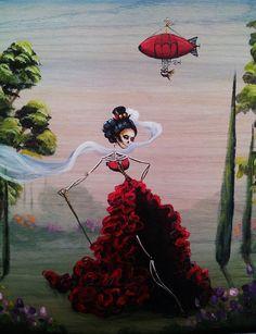 Day of the Dead Dia de Los Muertos Original Painting by KatTatz