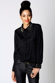 Lara Studded Collar And Cuff Chiffon Shirt  Boohoo.com €30