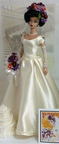 Brunette Barbie with Colorful Flower Tiara and matching Bouquet PLUS Pearls - Bridal Boutique
