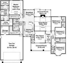 use the front of house for more kitchen and living space. Plan Level Floorplan 3 Bedrooms on one side, Flex Space, Master suite, 2 car. Walk-in Pantry. House Plans One Story, Dream House Plans, House Floor Plans, Dream Houses, Four Bedroom House Plans, Bungalow Floor Plans, Dream Mansion, One Story Homes, Story House